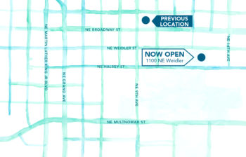 Artistic rendered map of Lloyd Center area showing former OnPoint Lloyd Center branch location and new location.