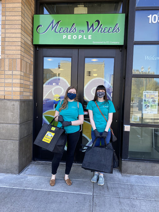 OnPoint employees volunteer for Meals on Wheels Portland to deliver food to vulnerable seniors during the COVID-19 pandemic.