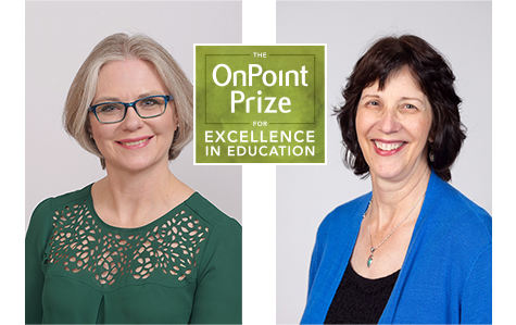 Portrait photos of 2020 Educator of the Year winners, Kerryn Henderson and and Carol Biskupic Knight