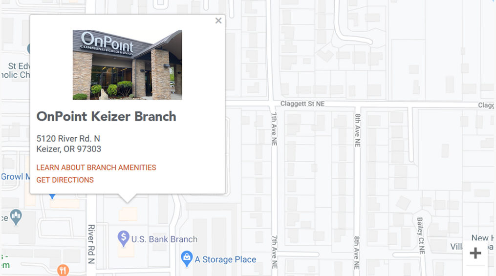 Image of Google map with Keizer branch exterior image.