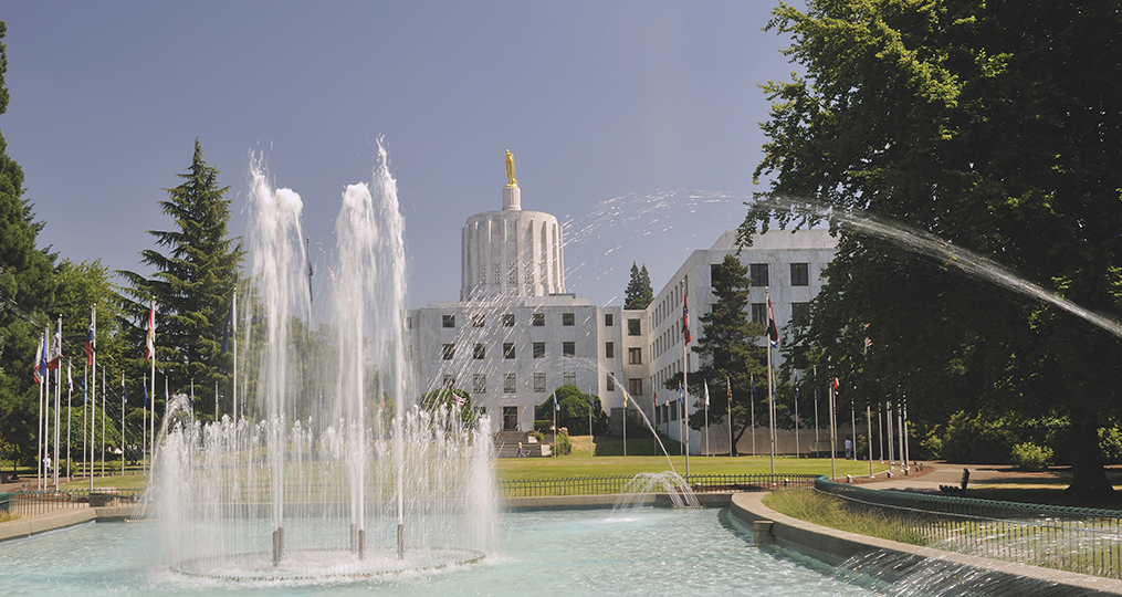 Water fountain in front of State Capitol at Salem, Oregon