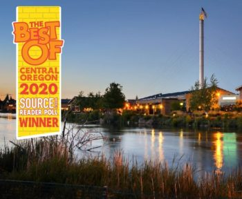 Image of old mill in Bend with logo: The Best of Central Oregon 2020 Source Weekly Reader Poll Winner
