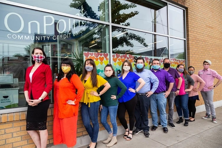 OnPoint employees show their Pride outside of the OnPoint Hawthorne Branch