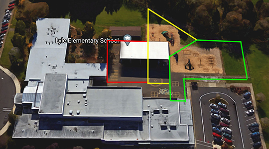 Overhead view of Lyle outdoor area, where recess area would be redesigned.