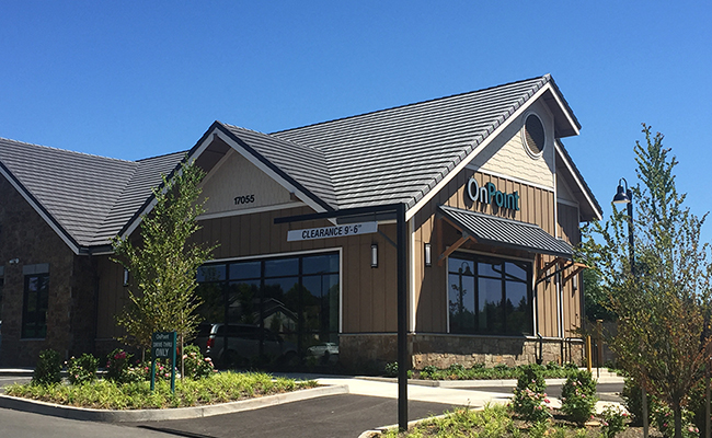 Happy Valley branch exterior on side with drive-thru