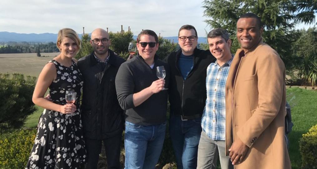 Jason Desilet Employee Spotlight_group wine tasting at vineyard
