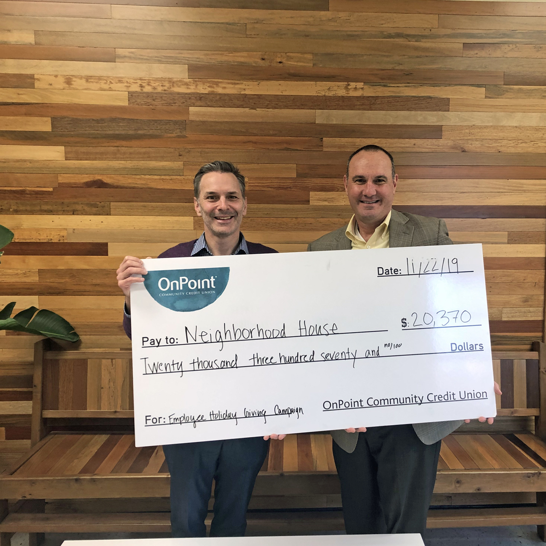 OnPoint Holiday Employee Giving Campaign_Neighborhood House check presentation