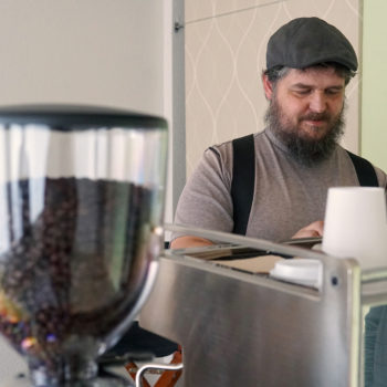 Rocky Butte Business Spotlight_Bryan roasting coffee