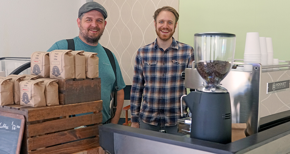 Rocky Butte Business Spotlight_James and Bryan roasting coffee