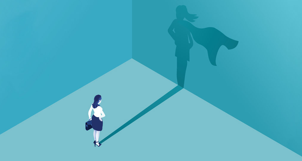 Spotlight Interviews with Our Recent Accelerated Platform Training Graduates_illustration how businesswoman looking at her shadow in the form of a superhero