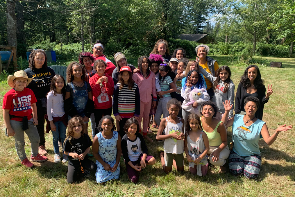 Brown Girl Rise Group of powerful young women at camp