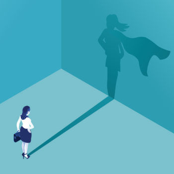 Accelerated Platform Training program creating super employees illustrated professional casting a super hero shadow