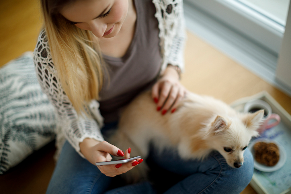 Commit to Getting Financially Fit in 2020_young woman sitting with her small dog and looking at her mobile phone