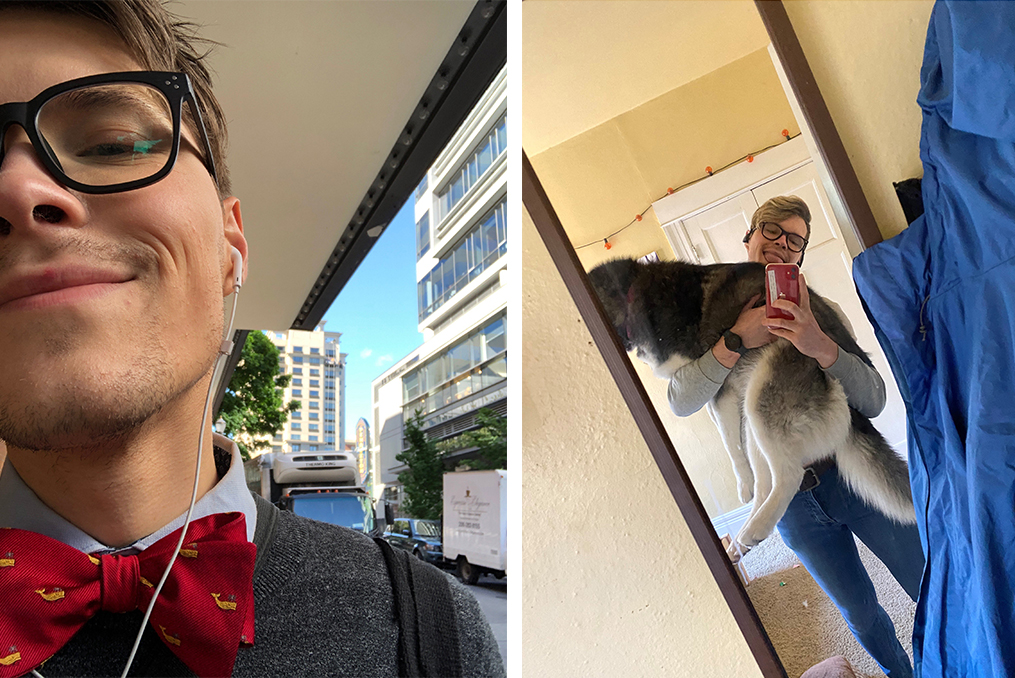 Eric Steffen Employee Spotlight_Eric selfie with bowtie and selfie with dog