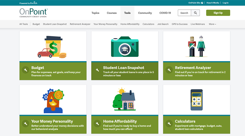 Financial Planning Resources for Home-Bound College Students_Enrich Tools Page Screenshot
