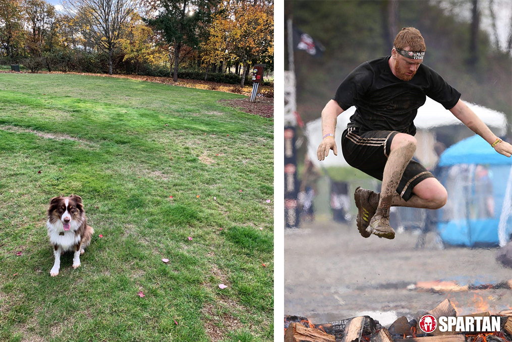 Jeremy DeHut employee spotlight_Jeremy jumping through fire and photo of his dog