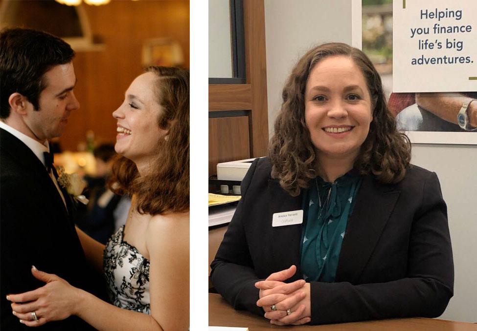 Jessica Ferranti employee spotlight_dual image_dancing at her wedding_sitting at her desk