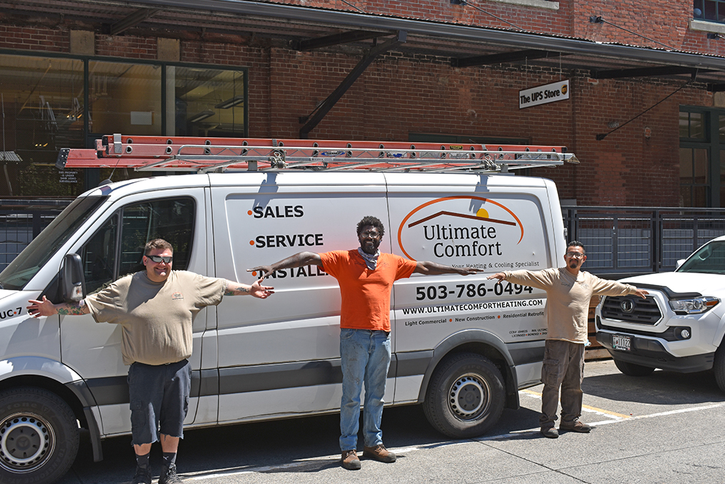 Ultimate Comfort Brings Quality Service to Portland and SW Washington_Ultimate Comforst social distant install team in front of van photo