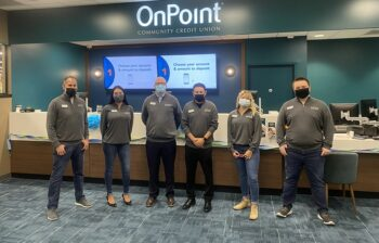 Burlingame Branch employees celebrate opening the new OnPoint branch