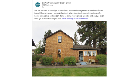 Example of OnPoint Business Spotlight social media post highlighting Pomegranate Home and Garden