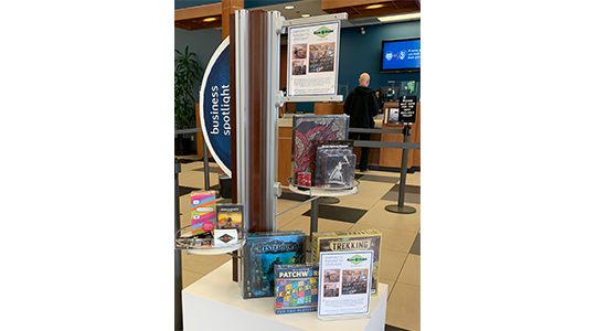 Business Spotlight display at OnPoint branch featuring Rune and Board