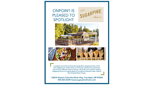 Example of OnPoint Business Spotlight Poster featuring Sugarpine Drive-in