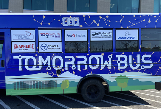 Image of the Tomorrow Bus, a mobile STEAM (Science, Technology, Engineering, Art and Math) classroom.