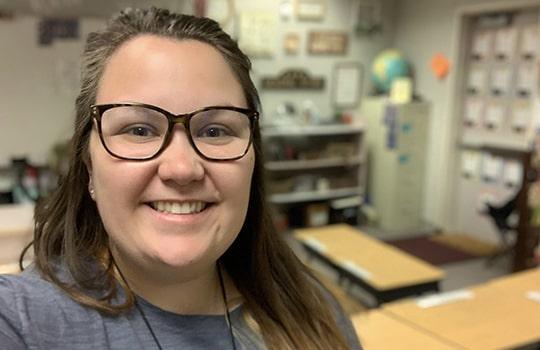 2021 Teachers Rock winner, Sarah Landel in her classroom.