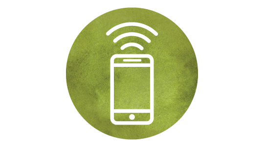 Icon of phone with nfc signal on to make a payment