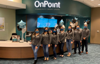 OnPoint Cornelius Branch staff line up for a photo on their first day open.