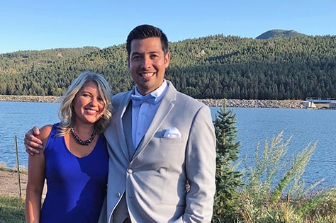 spotlight interview with Alyssa Gonzalez-dressed up with Brian at the lake