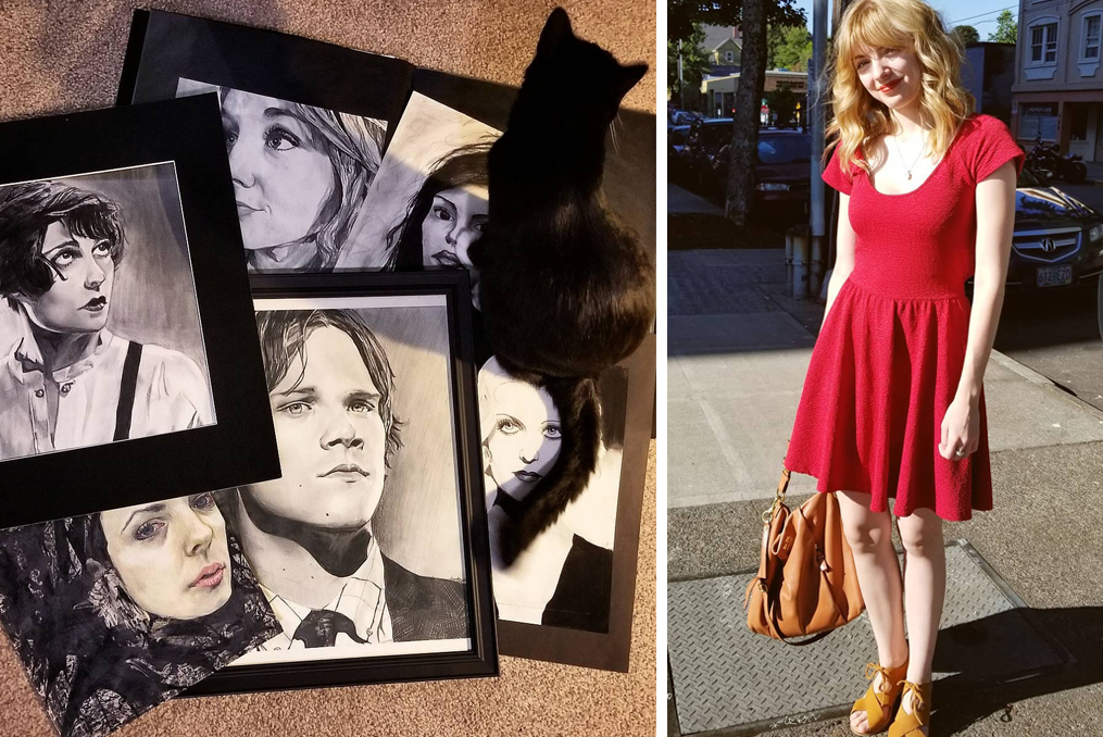 Amanda in red dress - her art and her cat