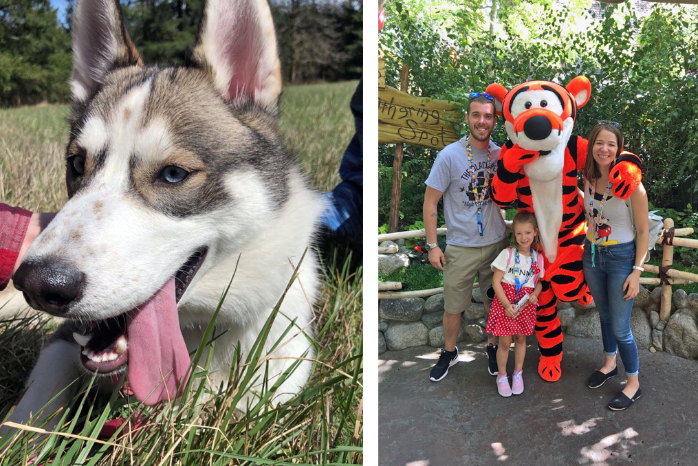 Abbygale with her family at disneyland and a photo of her dog
