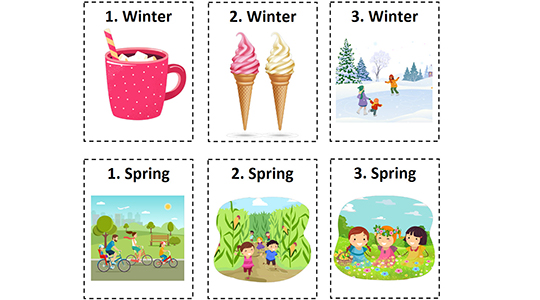 Card cutouts for in class learning depicting seasonal items.