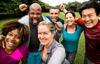 Financial Health Check hero_Group selfie_working out together and getting financially fit