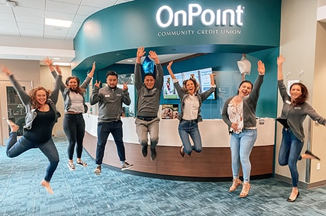OnPoint Johnson Creek Branch team celebrate the opening of their new branch.