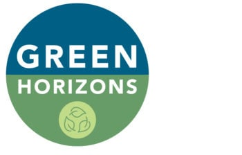Green Horizons logo, blue and green with leaf icon