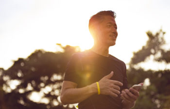 man going for a run at sunrise