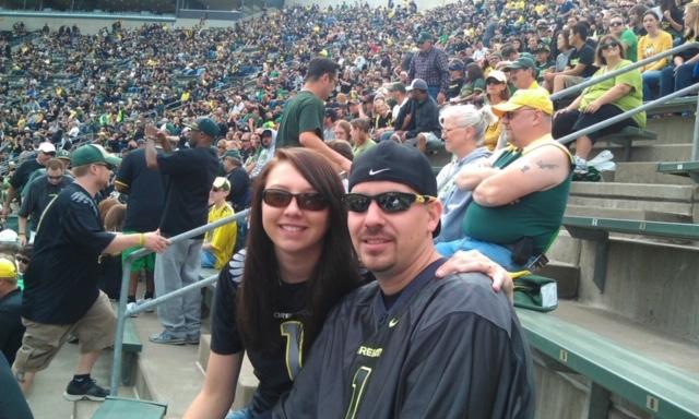 Kayley and husband at Oregon Ducks game