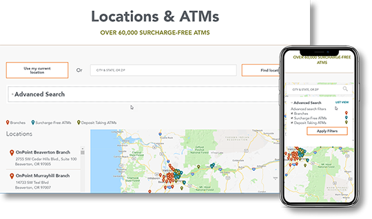 Sample image of locations and atms page on desktop and mobile