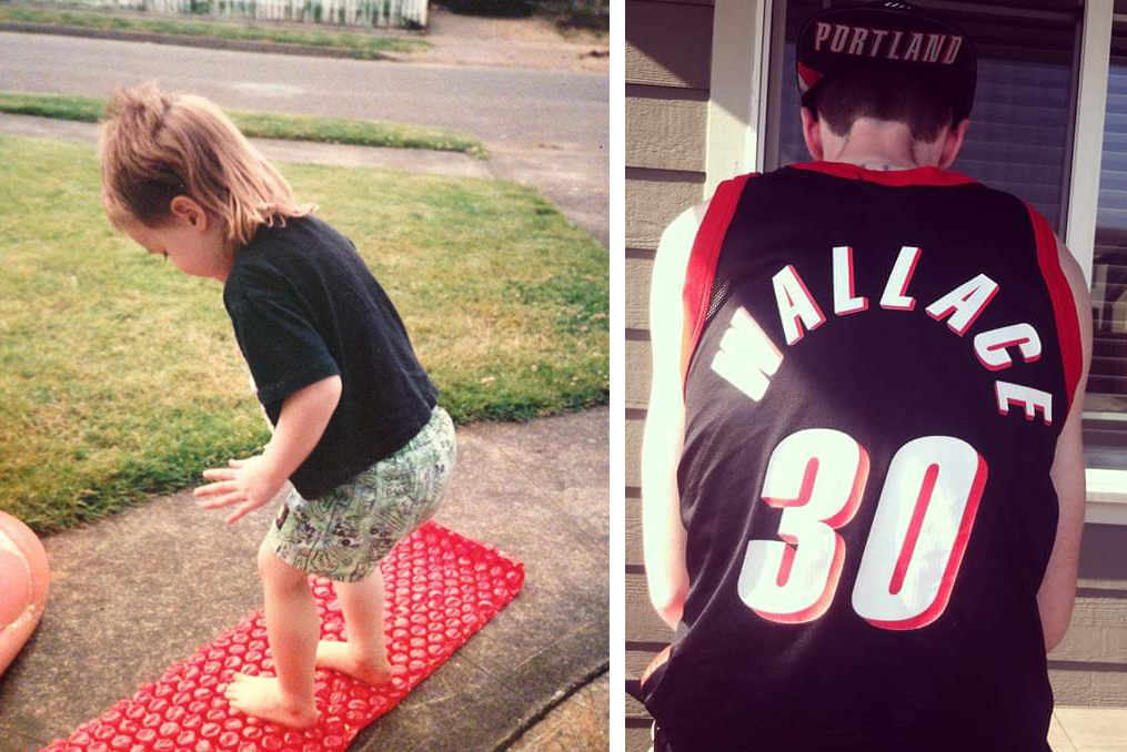 Alex when he was young rocking a Mullet and Alex sporting a Rasheed Wallace Portland Trail Blazers Jersey