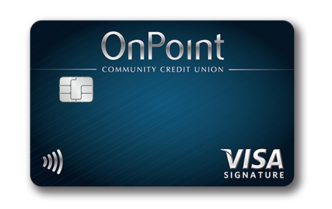 Image of blue OnPoint Signature Visa with Cash Back Rewards