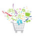 Magic Minute shopping cart illustration with prizes and confetti bursting from the basket