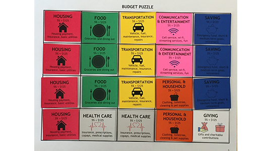 Image of game cards for learning personal finance