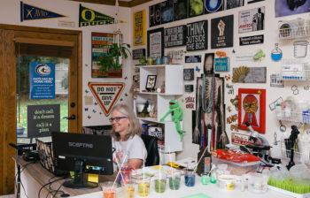 Kerryn Henderson at her school office desk