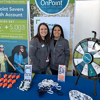 LeeAnn Baker with a co-worker at an OnPoint event.