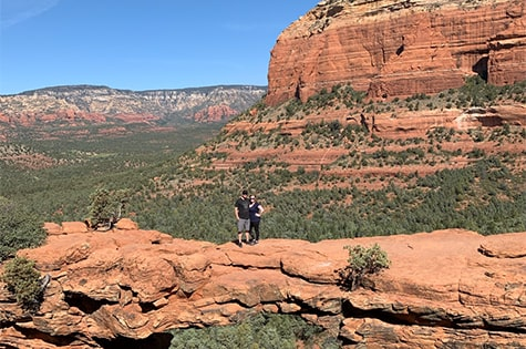 Laurissa Bybee with her husband hiking in Sedona.