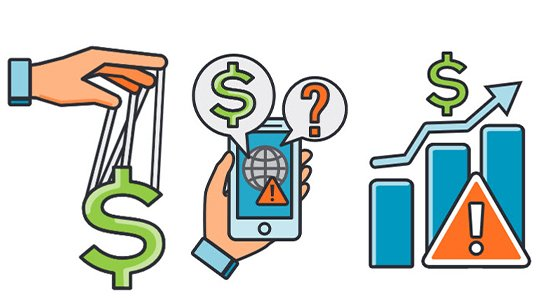 Illustrated icons of marionette hand over dollar sign, hand with mobile phone, and bar graph depiciting increase