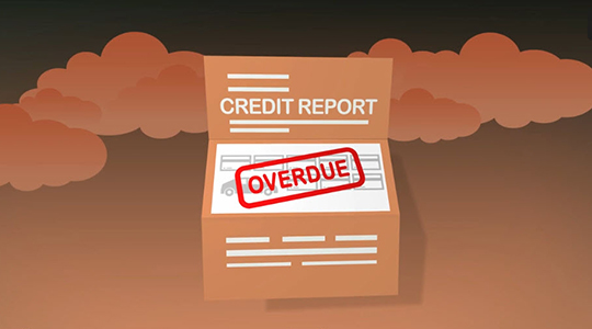 Illustration of credit report with overdue stamp