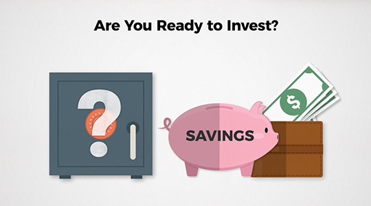 """Illustration of safe, piggy bank and wallet, with title """"Are you ready to invest?"""""""